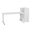 Büromöbelset LOGIN 2-teilig, Schreibtisch B 1600 mm + Anstellcontainer mit Aufsatzregal, lichtgrau