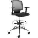 Bürostuhl, mit Armlehnen, atmungsaktive Netz-Rückenlehne, Muldensitz, mit Fußring