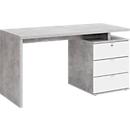 Bureau met wangpoot, , B 1400 x D 800 x H 750 mm, met ladeblok met 2 laden en 1 klep, decorsbeton/hoogglanzend wit