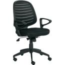 Bureaustoel PABLO, wipmechanisme, met armleuningen & rugleuning van gaas, gestoffeerde comfortzitting