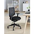 Bureaustoel ROVO XT, met armleuningen, synchroonmechanisme, netrugleuning, gestoffeerde vlakke zitting, zwart