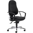 Bureaustoel Topstar POINT DELUXE, met armleuningen, synchroonmechanisme, ergonomisch gevormde wervelsteun, zwart/chroomzilver