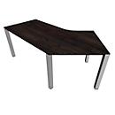 Bureautafel 135° SOLUS PLAY, 4-poot, vrije vorm, aanbouw links, B 2165 x D 800 x H 720-820 mm, moeraseik