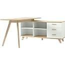 Bureautafel OSLO met sideboard, B 1440 x D 1450 x H 750 mm, wit/Sanremo-eik-notenboom