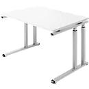 Bureautafel SET UP, C-poot onderstel, 1200x800, wit/blank aluminium