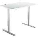 Bureautafel START UP, eentraps elektr. in hoogte verstelbaar, B 1200 mm, lichtgrijs/blank aluminium