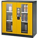 Chemikalienschrank, Flügeltür m. Glasauschnitt, 2 Böden, 1055x520x1105 mm, sicherheitsgelb