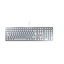 Cherry Tastatur KC 6000 Slim, QWERTZ, 105 + 6 Tasten, Status LEDs für CAPS LOCK, NUM & SCROLL, silbern