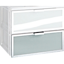 Chroomkleurige open kast Balton B III, metalen lade, met glazen inzet, B 430 x D 380 x H 180 mm