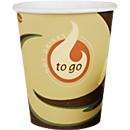 Coffee to go Becher, für 0,2 l, Ø 75 x H 91 mm, bedruckte Pappe, beige-schwarz, 50 Stück