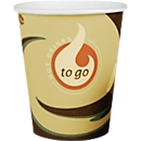 Coffee to go Becher, für 0,2 l, bedruckte Pappe, beige-schwarz, 50 Stück