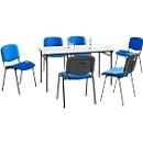 Complete aanbieding inklapbare tafel + 6 stoelen ISO BASIC, tafel B 1600 mm, stoelen met stofbekleding