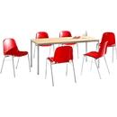 Complete aanbieding tafel esdoorn + 6 kuipstoelen Beta, rood, stapelbaar