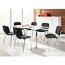 Complete aanbieding vergadertafel + 6 stoelen ISO BASIC, tafel B 1600 mm