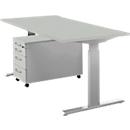 Complete set bureautafel en verrijdbaar ladeblok ERGO-T, handmatig in hoogte verstelbaar met inbussleutel, tafel B 1600 mm, lichtgrijs