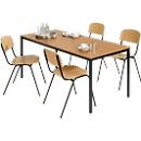 Complete set tafel met stalen buizen met 4 stapelstoelen
