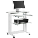 Computertisch mit Rollen, Glasplatte, Metallgestell, 2 Auszüge, B 800 x T 510 x H 837 mm