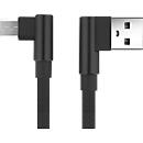 Daten-/Ladekabel Felixx, Micro-USB, 90° Winkelstecker, L 1 m, strapazierfähiges Nylongewebe