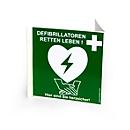 Defibrillator Standort-Winkelschild, B 450 x H 200 mm, fluoreszierend