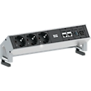 Desk 2, Geaard stopcontact/CAT6/USB/HDMI, aluminium