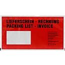 Dokumententasche DEBATEC DIN lang, rot, selbstklebend, Druck Lieferschein/Rechnung