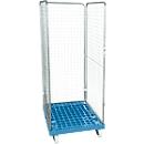 Drahtgitterbehälter 3-seitig, 1600 auf Kunststoffrollbehälter, lichtblau RAL 5012