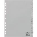 DURABLE Kunststoffregister, DIN A4 hoch, Buchstaben A-Z (20 Fächer), grau