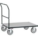 Duwbeugelwagen, staal/hout, antracietgrijs, tot 600 kg, B 1200 x D 800 mm, TPE-banden