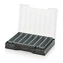 Einsatzkasten-Set für Sortimentskasten 400 x 300 mm, ABS-Kunststoff, Rastergröße 1 x 5, grau, 7-teilig