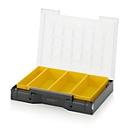 Einsatzkasten-Set für Sortimentskasten 400 x 300 mm, ABS-Kunststoff, Rastergrößen 1 x 5 und 2 x 5, gelb, 4-teilig
