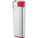 Elektronik-Feuerzeug, mit Kindersicherung, silber/rot