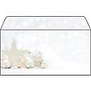 Envelop voor Kerstmis White Stars, lang, gecoat, 25 stuks