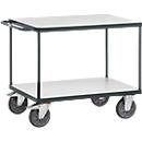 ESD-Tischwagen, 2 Etagen, 850 x 500 mm, bis 500 kg, Stahl/Holz, schiefergrau