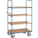 Etagenwagen, 4 Holz-Böden, bis 600 kg, 1000 x 600 mm, Stahl, blau