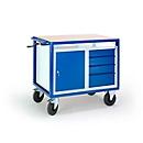 Etagewagen in hoogte verstelbaar, 1090 x 700 mm, met stalen kast en ladekast, draagvermogen 400 kg