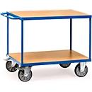 Etagewagen, staal/hout, 2 etages, L 1200 x B 800 mm, tot 600 kg, briljantblauw/beukenmotief