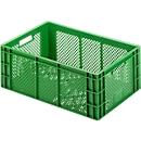 Euro Box Obst- und Gemüsekasten, lebensmittelecht, Inhalt 47,9 L, durchbrochene Version, grün