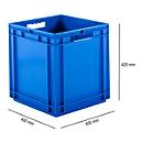 Eurobox serie EF 4440, van PP, inhoud 53,9 l, gesloten wanden, open handgreep, blauw