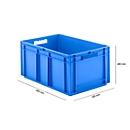 Eurobox serie EF 6280, van PP, inhoud 56,6 l, gesloten wanden, blauw, open handgreep