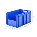 Euronorm bak EF 6320, zonder deksel, zonder stofklep, 63,7 l, blauw