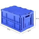 Euronorm plooibox FK E-D-6320-2, met deksel, 64 l, blauw
