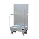 Fahrbare Auffangwanne LPW 60-2, mit Lochplattenwand, aus Stahl, Kapazität 2 x 60-Liter Fass, verzinkt