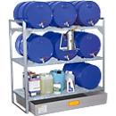 Fassregal Typ 360, für 6 Fässer à 60 l, 2 Gitterrostebenen, 6 Fassauflagen & GFK-Auffangwanne für 150 l
