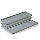 FIX-Stahlfachboden, T 300 x H 35 mm, ohne Anschlag, grau lackiert
