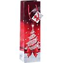 Flaschen-Geschenktasche Sigel Sparkling Tree, mit Kordeln & Geschenkanhänger, Papier, rot mit Weihnachtsbaum