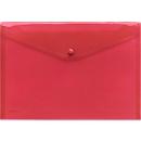 FolderSys documenthoes, A4 liggend, drukknoopsluiting, PP, rood transparant