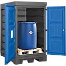 Gefahrstoffdepot, Polyethylen, unterfahrbar, B 1560 x T 1080 x H 1980, für 2 Fässer à 200 l