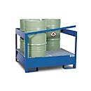 Gefahrstoffstation ASECOS, Stahl, mit Gitterrost u. Staplerschuhen, 400 l Auffangvolumen, B 1355 x T 1270 x H 1000 mm, lackiert