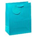 Geschenkzak medium, krijtstrepen blauw, incl. lint & tekstlabel, 4 stuks