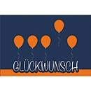 Glückwunschkarte Korsch, Luftballon-Motiv, doppelte Einlage, 170 x 115 mm, 215 g/m², blau/orange, 10 Stück